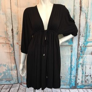 BCBGMAXAZARIA Black Cut Out Swim Cover Up Dress